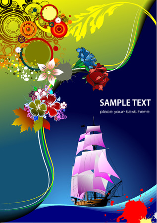 Floral background with old ship image. Vector illustration.  Vector