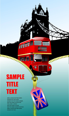 double decker: London images with open zipper and double Decker bus.  Vector illustration Illustration