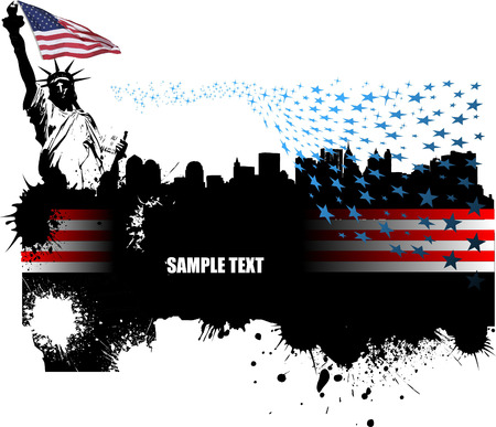 Banner with American images. Vector illustration