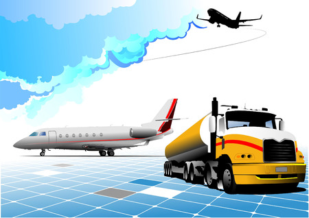 approaching: Airport scene . Vector illustration for designers