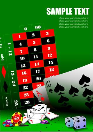 Casino elements on green table. Vector illustration Vector