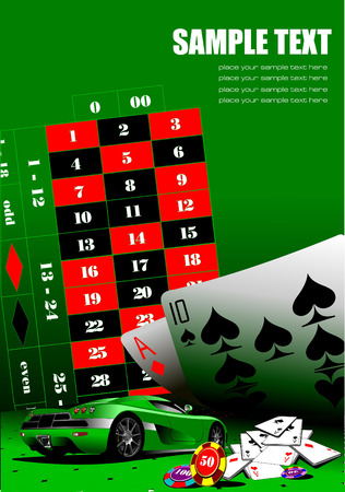 roulette table: Casino elements with sport car image. Vector illustration