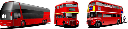 decker: Two generations of London double Decker  red bus. Vector illustration Illustration