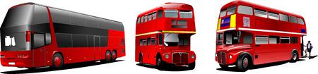ausflug: Zwei Generationen von London Double Decker roten Bus. Vector illustration Illustration