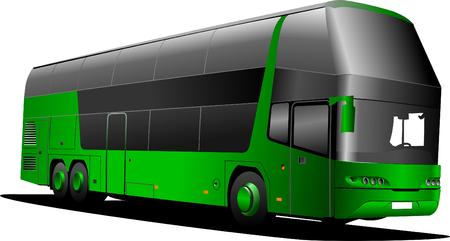double decker: Green tourist bus  bus. Vector illustration Illustration