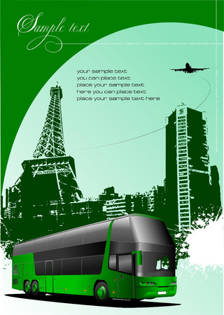 Cover for brochure with urban Paris silhouette and bus image. Vector illustration Vector