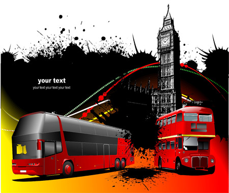 double decker: London background with two generations of double Decker  red bus. Vector illustration