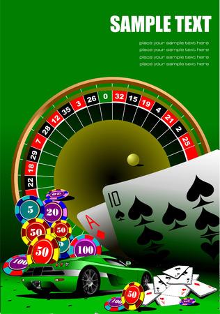 atlantic city: Casino elements with sport car image. Vector illustration