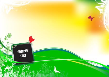 Floral summer background. Vector illustration. Invitation card;  Vector