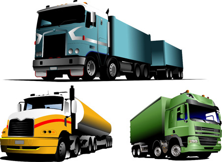 Green, blue and yellow  trucks on the road. Vector illustration Vector