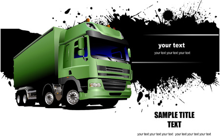 vector tyre: Banner with green garbage  trucks. Vector illustration