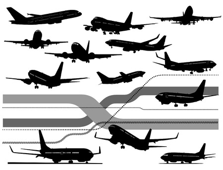 13 black and white Airplane silhouettes. One click color changed Vector