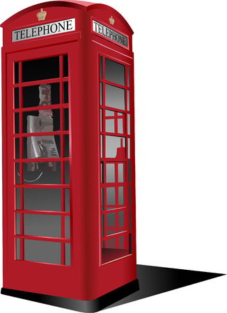 outside box: London red public phone  box. Vector illustration