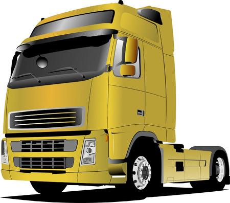 Yellow  truck on the road. Vector illustration Vector