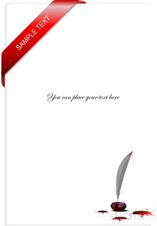ink pot: Carta en blanco con cinta de tinta esquina olla, plumas y borrones. Ilustraci�n vectorial