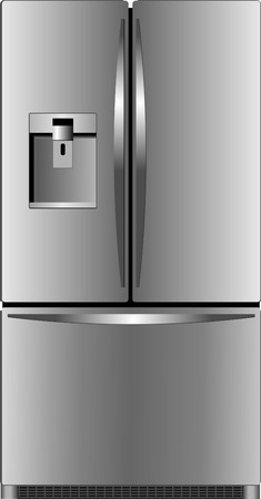 stainless steel kitchen: Domestic refrigerator with unit for cold water