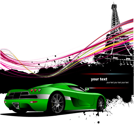 Green sport car with Paris image background. Vector illustration Vector