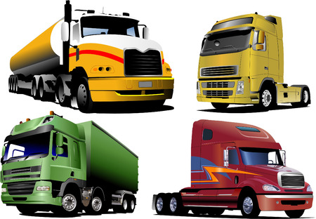 Four   trucks on the road. Vector illustration Vector