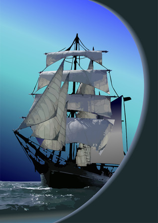 autumnally: Marine background with sail ship. Vector illustration