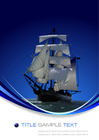 Marine background with sail ship. Vector illustration