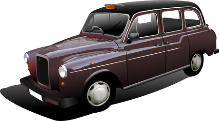 streets of london: London taxicab. Vector illustration