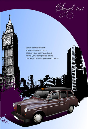 purple car: London background with Big Ben and taxicab. Vector illustration Illustration