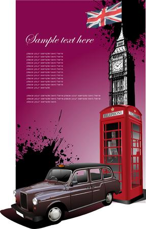 taxicab: London background with Big Ben, taxicab and phone box. Vector illustration
