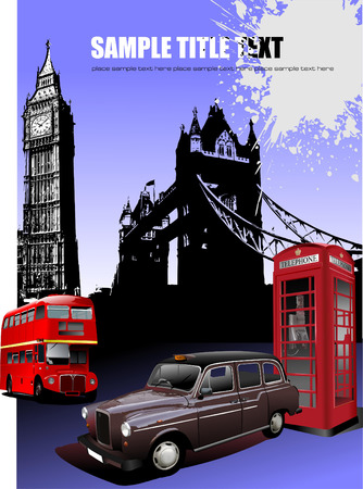 telephone booth: London images background. Vector illustration