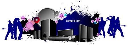 Musical banner with Audio digital recorder set. Vector illustration Vector