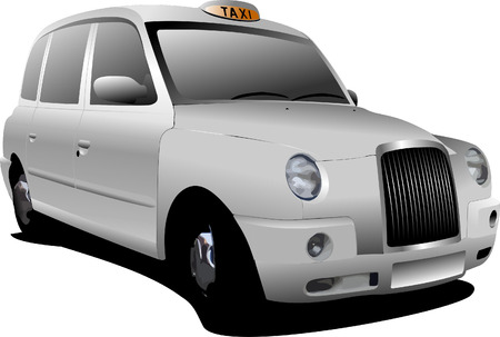 taxicab: London white taxicab. Vector illustration