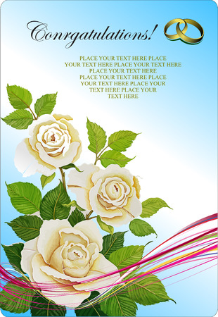 Greeting Wedding card with roses bunch. Vector illustration Stock Vector - 5270918