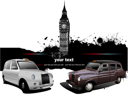 London background with Big Ben and two taxicabs. Vector illustration