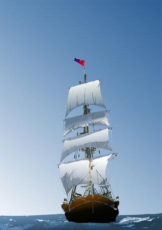 sailing vessel: De fondo marino con el velero. Vector illustration Vectores