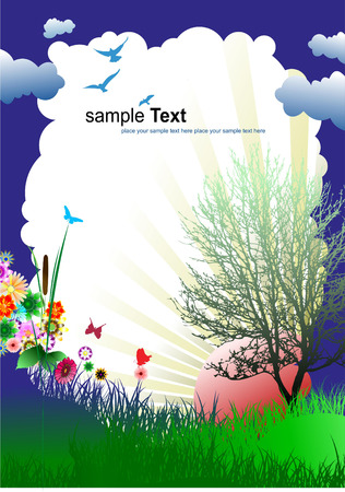 Floral summer background. Vector illustration. Invitation card Vector