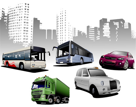 Five examples of city transport on urban background. Vector Vector