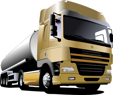 fuel truck: Yellow truck on the road. Vector illustration