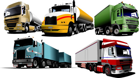 Five trucks on the road. Vector illustration Vector