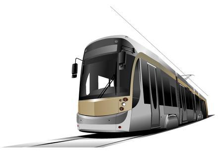 tramway: Citt� di trasporto. Tram. Vector illustration