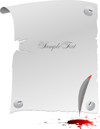 Blank page, feather and blots. Vector illustartion Stock Vector - 5456002