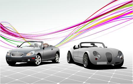 v�locit�: Deux cabriolets voiture grise sur la route. Vector illustration