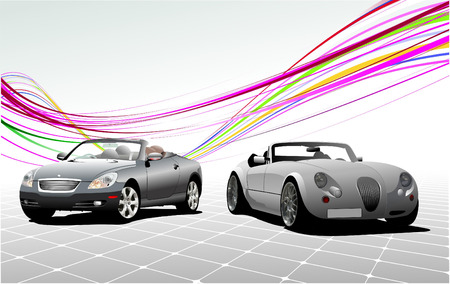 expensive car: Two Gray  car cabriolets on the road. Vector illustration