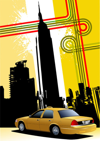 new cab: Cover for brochure with New York and taxi cab images