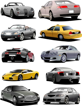 Ten  cars on the road. Vector illustration Stock Vector - 5456034