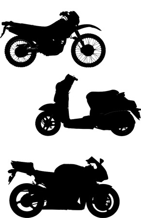 Three vector illustrations of motorcycle. Help for designers;  Vector