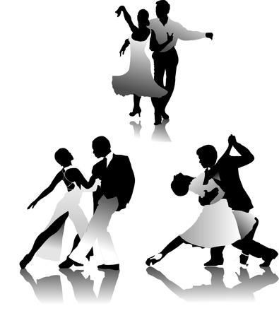 Three couples dancing a tango. vector