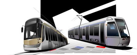 tramcar: City transport. Two Trams. Vector illustration