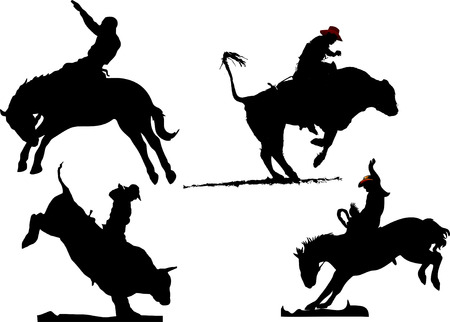 Four rodeo silhouettes. Vector illustration Vector