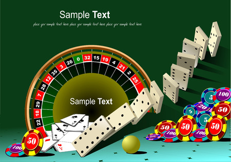 principle: Casino elements with domino principle. Vector illustration Illustration