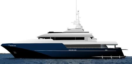 luxury travel: Negro yate oc�ano azul. Vector illustration Vectores