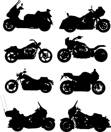 motorbikes: Eight vector illustrations of motorcycle. Vector. One click color change